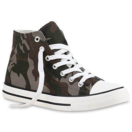 Damen Schuhe Sneaker Turnschuh High Top Camouflage Braun Weiss