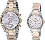 Titan 17332570KM01 Modern Bandhan Analog Silver Dial Couple Watch (17332570KM01)