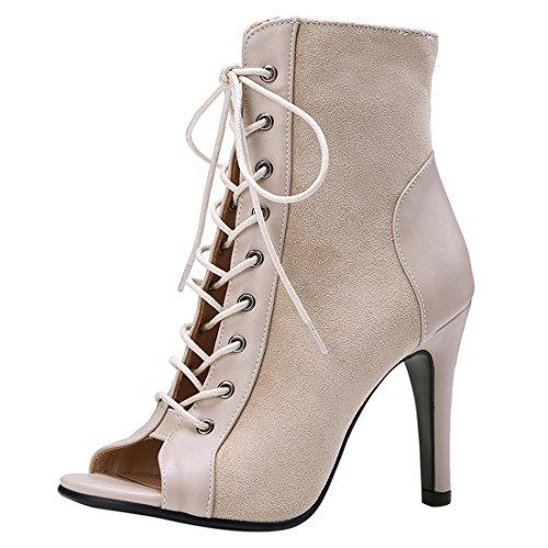 UH Damen Sandalen Zum Schnüren Gladiator Sandalen Kniehoch Peep Toe Sommerstiefeletten Schuhe