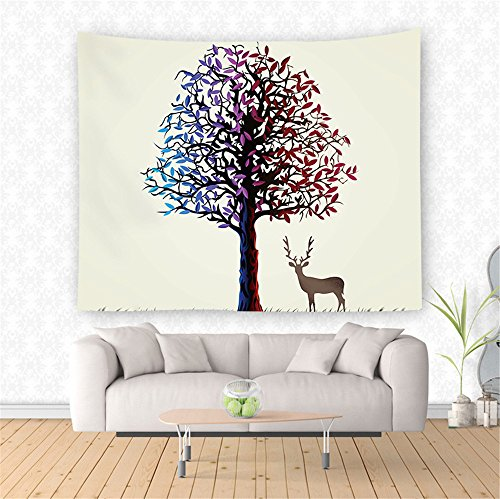 Kao0yan arazzo singolo in stile celtico, mandala decorazione per la casa, stile bohèmien, motivo mandala, grande albero e cerbiatto, 200x150cm