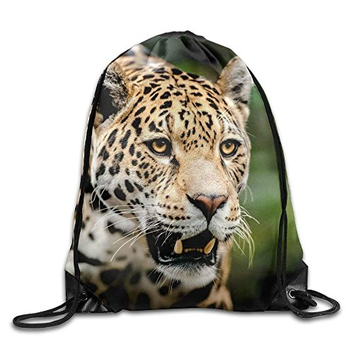 Leopard Animal Print Tote (HiExotic Eco-Friendly Turnbeutel Hipster Unisex Leopard Animal Face Print Tote Sack Bag Rucksack Drawstring Backpack Travel Bag Daypack)