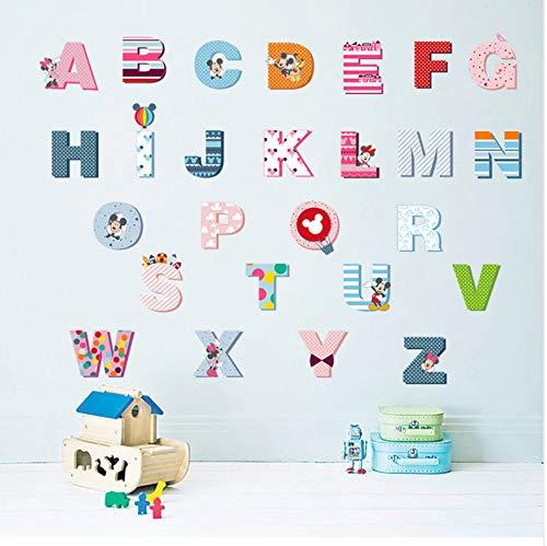 WFYY Mickey Mouse 26 Englisch Buchstaben Wandaufkleber DIY Kindergarten Kinder Früherziehung Wohnkultur Aufkleber Kunstwand