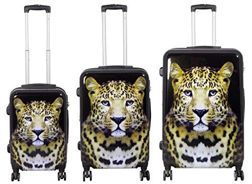 Koffer Hartschalenkoffer Kofferset 3 teilig Schwarz Leopard Wildnis