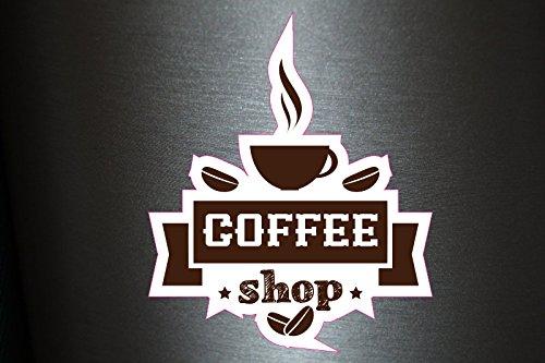 Preisvergleich Produktbild 1 x Aufkleber Coffee Shop Kaffee Bohnen Sticker Tuning Shocker Smiley Fun Gag