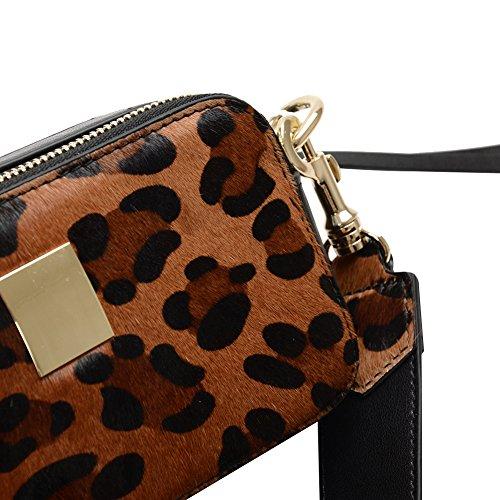 Jamron Damen Sexy Abendkupplungen Exquisit Zwei Reißverschlusstaschen Geldbörse Beutel Mit Abnehmbar Einstellbar Schulterriemen Burgund SN041207 Leopard