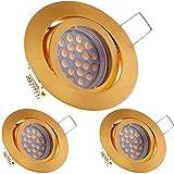 3er LED Einbaustrahler Set Gold/Messing mit LED GU5.3 / MR16 Markenstrahler von LEDANDO - 5W - schwenkbar - warmweiss - 60° Abstrahlwinkel - A+ - 35W Ersatz