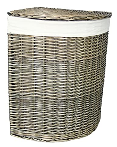 Red Hamper Antique Wash Corner Laundry Basket, Wicker,