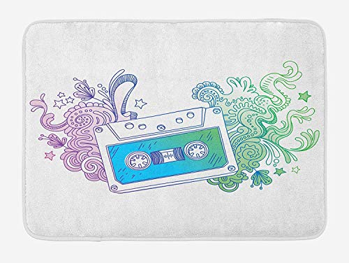 Doodle Bath Mat, Audio Cassette Tape with Line Art Floral Musical Old Fashion Melody Print, Plush Bathroom Decor Mat with Non Slip Backing, 15.7X23.6 inch, Blue Mint Purple Silver Circle Audio