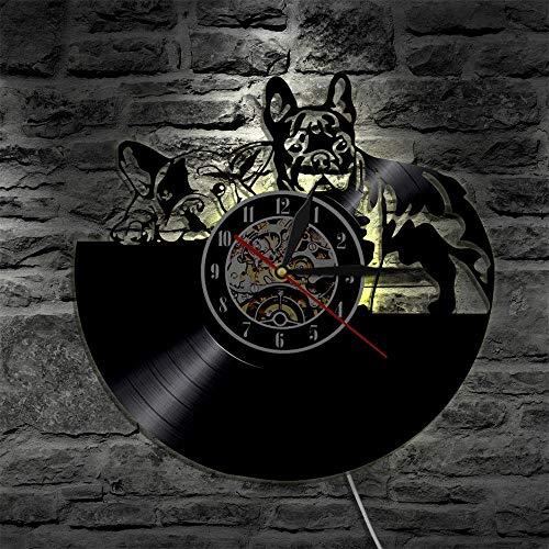 VBLSJ Schöne Hund Wanduhr Modernes Design Sieben Farben Ändern Led Uhren Vintage Retro Klassische Cd Schallplatte Wanduhr Wohnkultur Keine Led