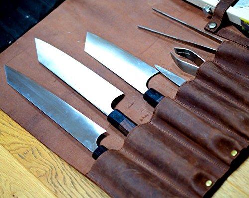 Cuir véritable Sac de rouleau de couteau de chef, tenue 8 couteaux vintage Couleur Marron clair Vintage Marron
