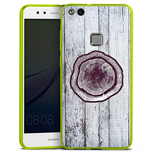 DeinDesign Huawei P10 lite Slim Case transparent neon grün Silikon Hülle Schutzhülle Stamm Holz Look Baumstamm