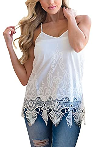 Annflat Women's Embroidered Lace Detailed Trim Straps V-neck Tank Tops Medium White