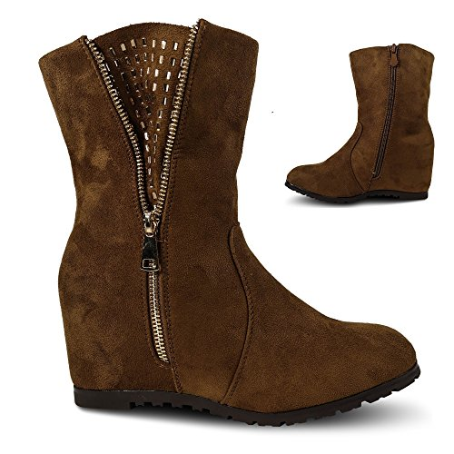 Damen Stiefel Stiefeletten Keilabsatz Glitzer Nieten Wedge ST815 Camel