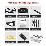 Drone pliable X12S avec caméra 4K HD Hélicoptère RC à grand angle pour avion RC à flux optique WiFi Drone FPV à grand angle (couleur: blanc)