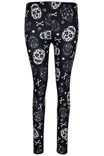Be Jealous Damen Halloween Ghost Pumpkin Party Skinny Fit Kostüm Jeggings Leggings UK Übergröße 8-22 - schwarz weiß Totenköpfe, Plus Size (UK (Plus Size Kostüme Halloween 22)
