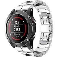 SHOBDW Armband für Garmin Fenix 5 & Forerunner 935-22 mm, Quickfit-Wechselarmband Ersatz Replacement Band, Echtes Edelstahl-Armband Schnelles Wiedereinbau-Sitz-Band-Bügel Wristband Uhr Verstellbar