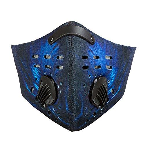 Eizur Staubmaske pm2.5 Halbes Gesichtsmaske mit Aktivkohlefilter Fahrrad Atemschutzmaske Winddicht Halbmaske für Radfahren Ski Skifahren Outdoor Sports--Gedruckt 2