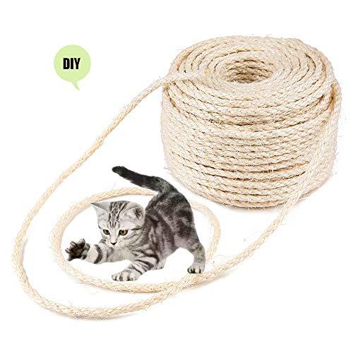 Parain Sisalseil für Kratzbaum Kratzsaule Katzenbaum Katzen Natürlich Sisal Seil 6mm (6mm, 30m)