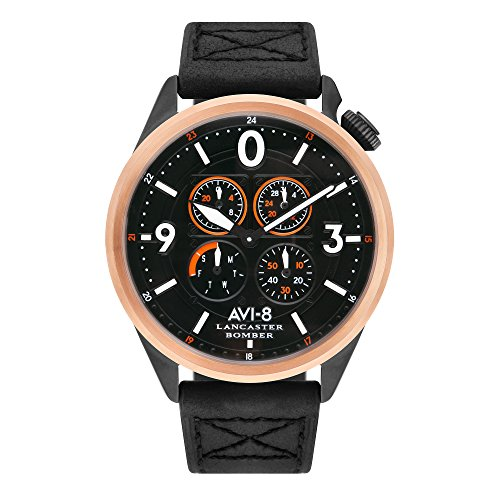 Lancaster Bomber AV-4050-05 Men's Watch – AVI-8 – 44 mm – Black Leather