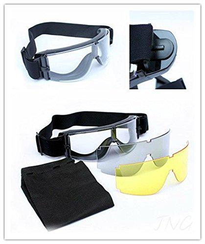 3 Vorsatzlinse (schwarz, gelb, Paintball Shooting Brille Schutzbrille Safety Test