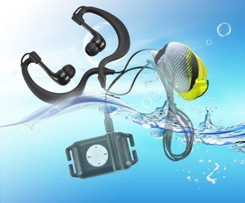 E-Plaza NEW kühlen 4GB wasserdicht IPX8 Sport Wasserdicht MP3 Player für Schwimmen / Laufen Unterwasser Jogging /SPA + Wasserdichte Ohrbügel Headset + Kopfhörer + Armband - Schwarz