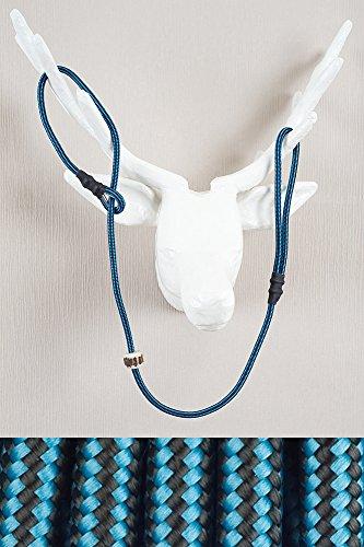 RETRIEVERLEINE | MOXONLEINE | Hundeleine 'Sporty', schwarz-hellblau, 180 cm x 6 mm MIT Zugstop, mit Hirschhornstop | geflochtene Hunde-Leine mit integriertem Halsband | Agilityleine | Retriever-Leine
