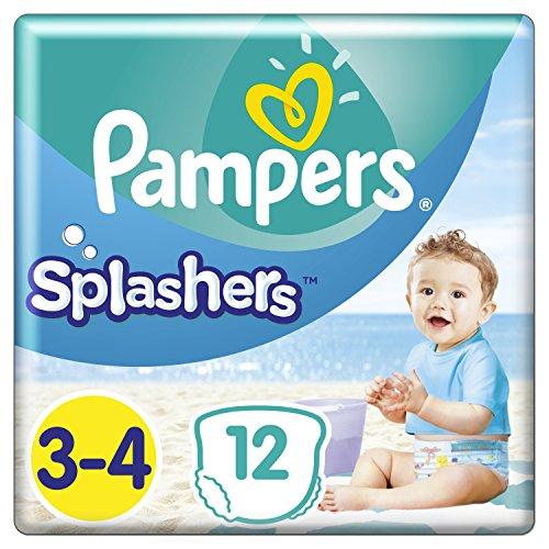 Pampers Splashers Einweg-Schwimmwindeln, Größe 3-4 (6-11kg), 1er Pack (12 Windeln)