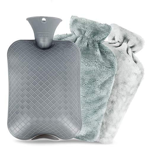 Waermflasche mit bezug, Wärmeflasche mit Super Weichem Plüsch-Bezug Waschbare Wärmekissen,Sicher und langlebig Geprüft Und Frei Von Schadstoffen, Schnelle Schmerzlinderung und Komfort(2L)