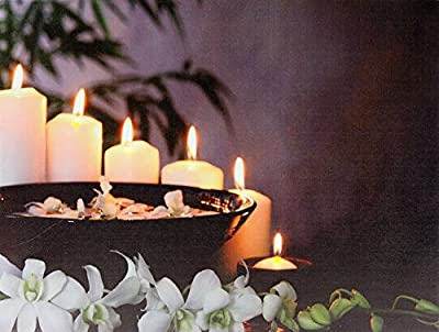 Relaxing Feng Shui Light Up LED Canvas Picture Frame Flickering Candle White Orchid Scene 40cm x 30cm Wall Art Decoration Festive