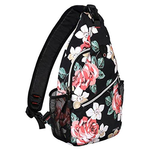 MOSISO Brusttasche Sling Rucksack Schultertasche, Polyester Crossbody Umhängetasche Sporttasche Kompatibel Herren Damen Mädchen Jungen Reise Daypack, Rose