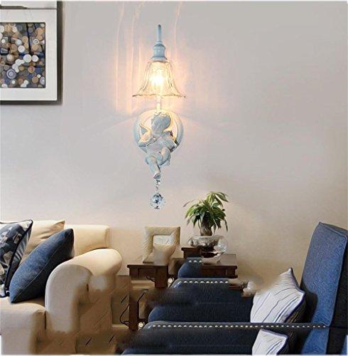 ERRU- Mode lampe murale Américaine créative minimaliste salon lampe lampe balcon allée ange à deux têtes moderne chevet chambre [Efficacité énergétique: A +] Belles lampes ( couleur : Violin ange )