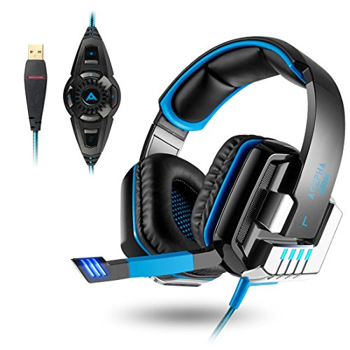 PC Gaming Headset, ACEPHA Virtual 7.1 Surround Sound Gaming Kopfhörer mit Mikrofon und Vibrationsfunktion, USB für PC, G8000, Schwarz -