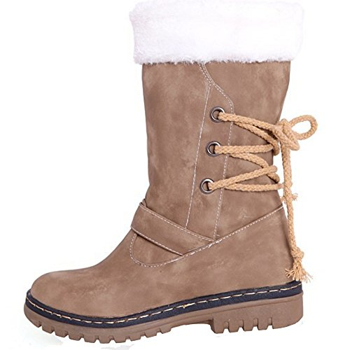 TAOFFEN Damen Herbst-Winter Warm Gefütterte Snow Boots Kunstfell Stiefeletten Hellbraun