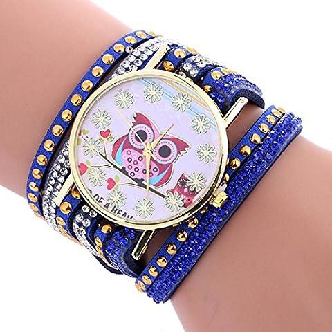 Watch, Manadlian Womans Fashion Owl Pattern Chimes Leather Bracelet Lady Wrist Watch (Blue)