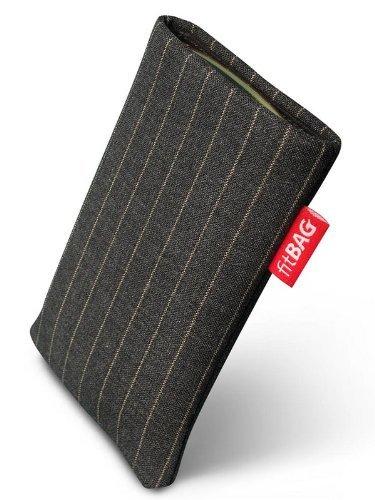 fitBAG Twist Grau Handytasche Tasche aus Nadelstreifen-Stoff mit Microfaserinnenfutter für Sony Ericsson W580 W580i W580 Crystal