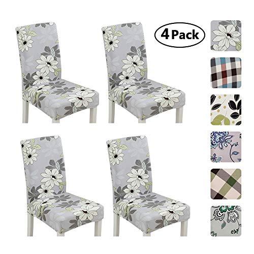Umiwe 4 pezzi coprisedie con schienale banchetto sedia sedile slipcover modern coprisedia elasticizzato rimovibile lavabile copertura della sedia sala da pranzo, ristorante (fiore bianco su grigio)
