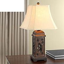 Lámparas de sobremesa infantil retro Europea/lámpara para leer en la cama/Living lámpara de sala a mano/Den atravesado ángel tallado decorativas luces-marrón