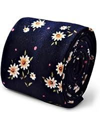 Frederick Thomas navy blue tie with white daisy print design