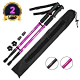 AUTOPkio Trekking Pole with Strap Carrying Bag, Pair of Travel Nordic Walking Hiking Poles 6061 Aluminum Alloy Folding Climbing Stick Ultralight Collapsible, Anti-shock With EVA Foam Handle(Purple)