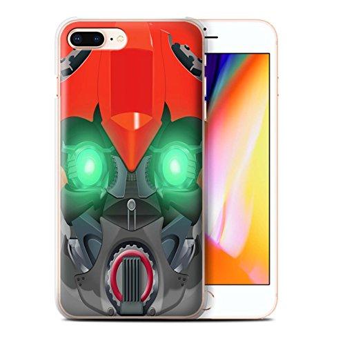 Stuff4 Hülle / Case für Apple iPhone 8 Plus / Bumble-Bot Lila Muster / Roboter Kollektion Bumble-Bot Red