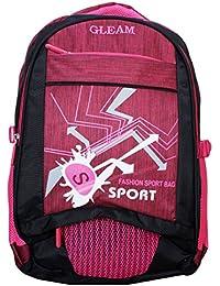 Gleam Fashion Sport School Bag ( Pink & Black ) With Rain Cover