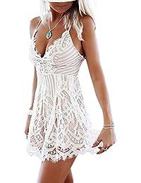 Damen Lace V Ausschnitt Schleuder Ärmellos Boho Spitze Exquisit Kurz Jumpsuits Shorts Einteiler Bandage Overall Laced V-Neck High Taille Kleid Casual Mini Dress