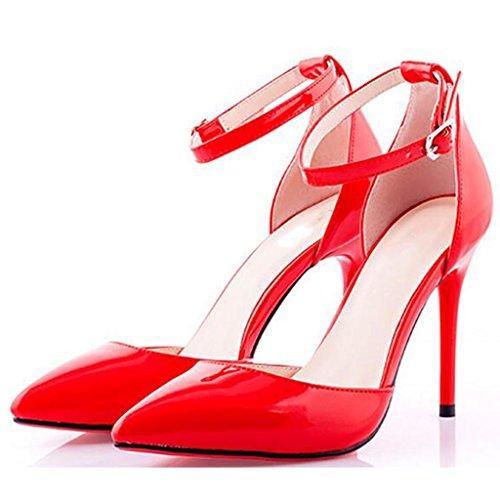 W&LMFibbia di parole Baotou sandali Tacchi alti appuntito Lato vuoto Scarpe singole Scarpe da lavoro Alti tacchi al banchetto red 12cm