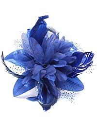 Fleur en tulle, plumes et filet sur peigne Choix de 9 couleurs