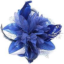 Juelz Fascinator - Tocado de flores y plumas que se ajusta con un peine transparente, 9 colores a elegir