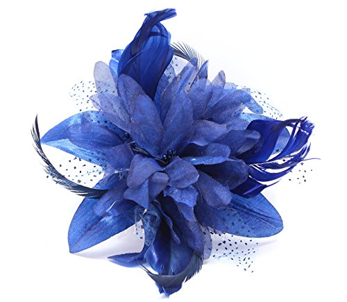 Red de flores y plumas Tocado en un peine claro elegir entre 9colores azul azul Talla única
