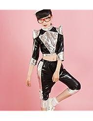 Los niños bailan la ropa del jazz espectáculo de danza trajes de ropa para niños niño azul / negro , black , 120cm