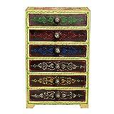 Casa Moro Orientalische Mini-Kommode von handbemalter Schubfach Schrank mit 3 Schubladen | Schöne Dekoration Handmade Schubfachschrank Nähkästchen Kästchen Schminkkasten | Schmuckkasten Anjan