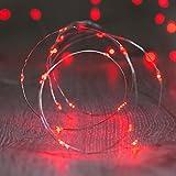 ShareMoon 20er LED-Lichterkette Micro Draht Batterie-betrieben 6.5 Ft/2M, für innen/außen,Mit Batterie (Rot) [Energieklasse A+]