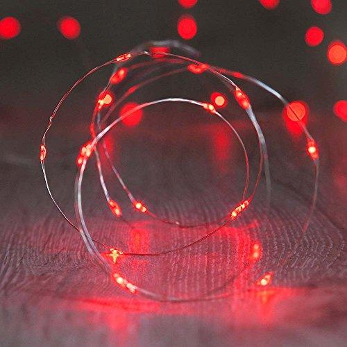 Baumwolle Outdoor-tisch (ShareMoon 20er LED-Lichterkette Micro Draht Batterie-betrieben 6.5 Ft/2M, für innen/außen,Mit Batterie (Rot) [Energieklasse A+])